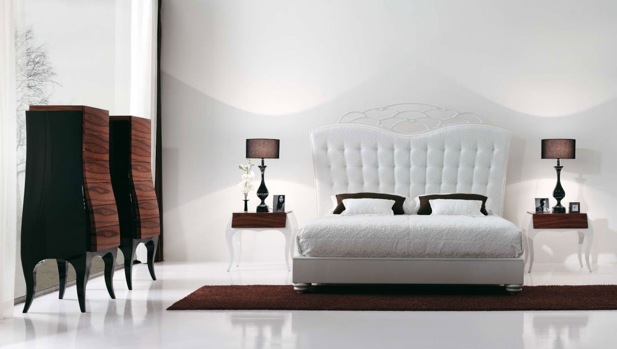 Спальня в  цветах:   Белый, Светло-серый, Темно-коричневый, Черный.  Спальня в  стиле:   Арт-деко.
