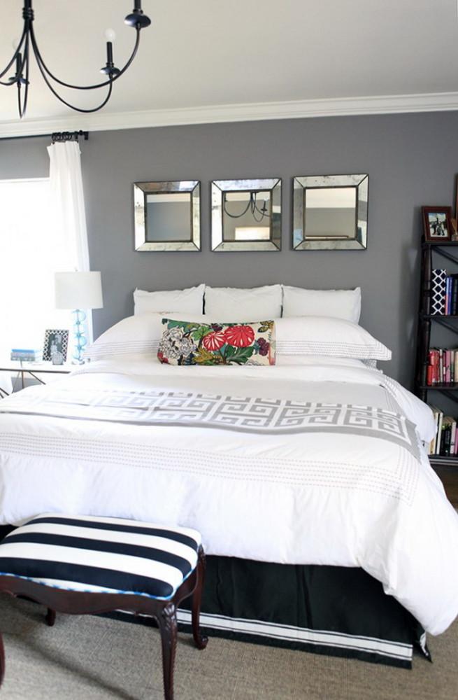 Спальня в  цветах:   Белый, Светло-серый, Серый, Черный.  Спальня в  стиле:   Арт-деко.