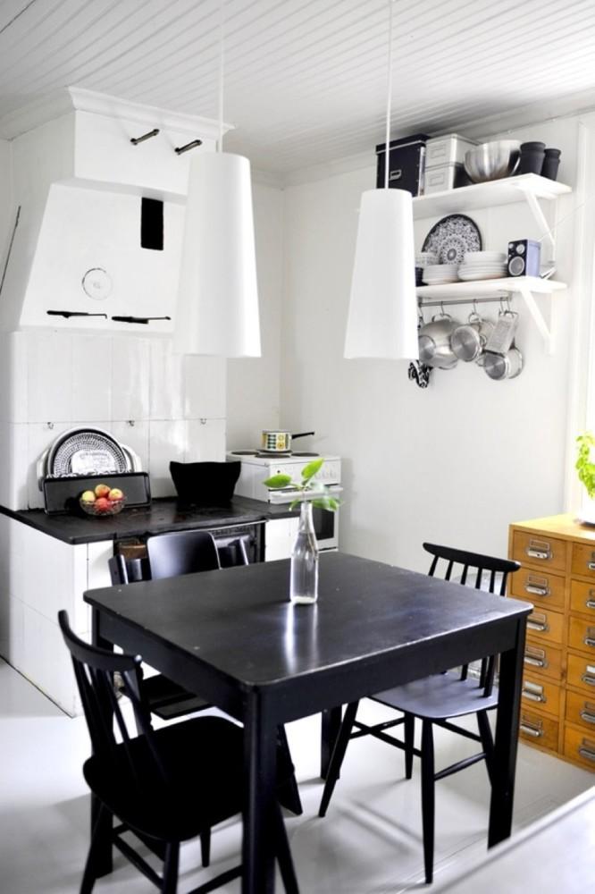 Кухня/столовая в  цветах:   Бежевый, Белый, Коричневый, Черный.  Кухня/столовая в  стиле:   Скандинавский.