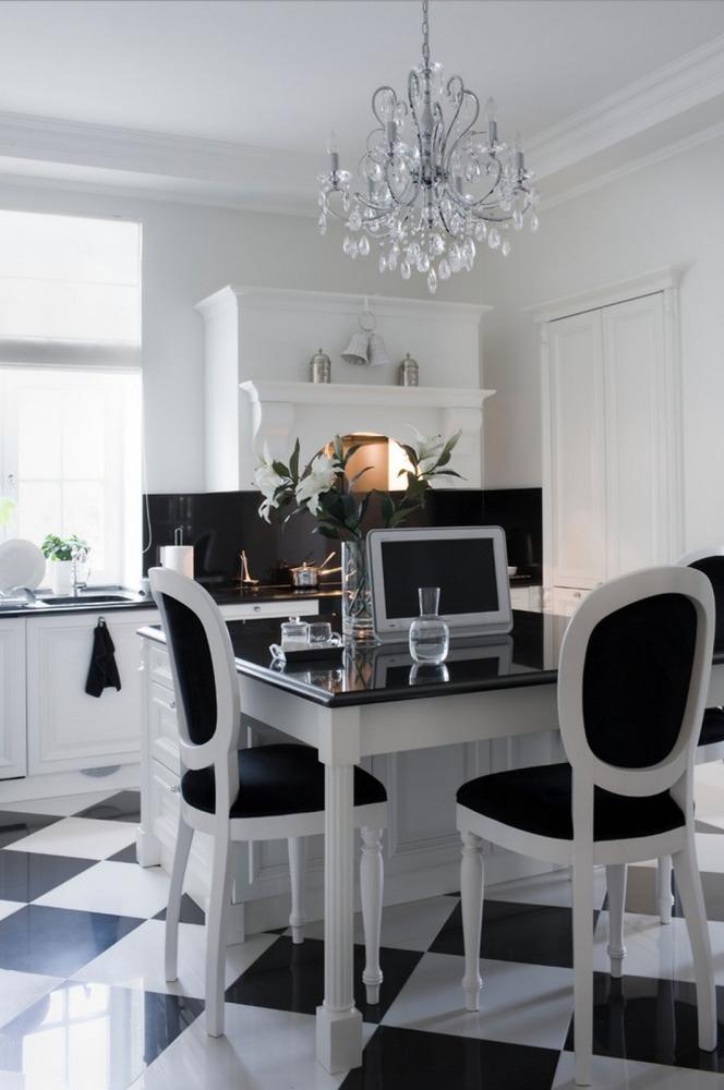 Кухня/столовая в  цветах:   Белый, Светло-серый, Серый, Черный.  Кухня/столовая в  стиле:   Классика.