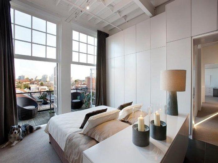 Спальня в  цветах:   Белый, Коричневый, Светло-серый, Серый.  Спальня в  стиле:   Минимализм.