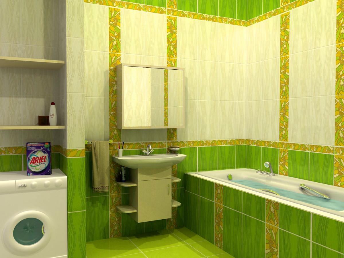 Ванная в  цветах:   Белый, Лимонный, Светло-серый, Темно-зеленый.  Ванная в  стиле:   Минимализм.