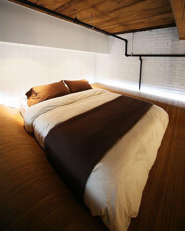 Спальня в  цветах:   Белый, Коричневый, Темно-зеленый, Черный.  Спальня в  стиле:   Минимализм.