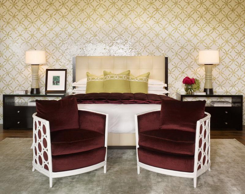 Спальня в  цветах:   Бежевый, Желтый, Светло-серый, Темно-коричневый.  Спальня в  стиле:   Арт-деко.