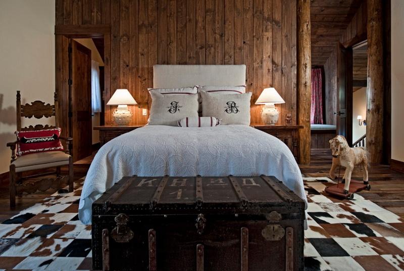 Спальня в  цветах:   Серый, Темно-зеленый, Темно-коричневый, Черный.  Спальня в  стиле:   Кантри.