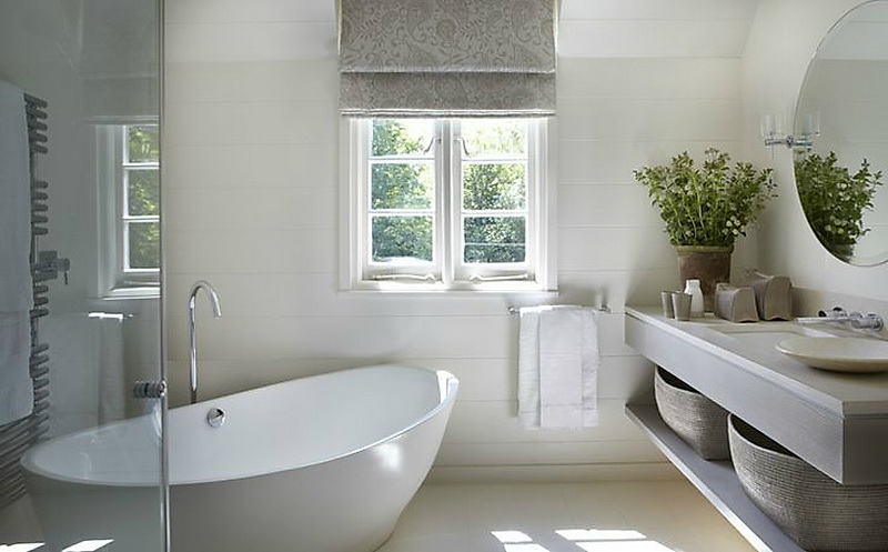 Ванная в  цветах:   Белый, Светло-серый, Серый.  Ванная в  стиле:   Минимализм.