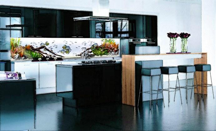 Кухня/столовая в  цветах:   Белый, Бирюзовый, Серый, Черный.  Кухня/столовая в  стиле:   Минимализм.