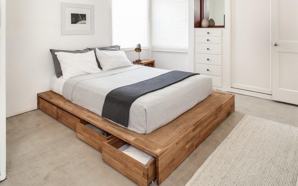 Спальня в  цветах:   Бежевый, Белый, Желтый, Светло-серый.  Спальня в  стиле:   Минимализм.