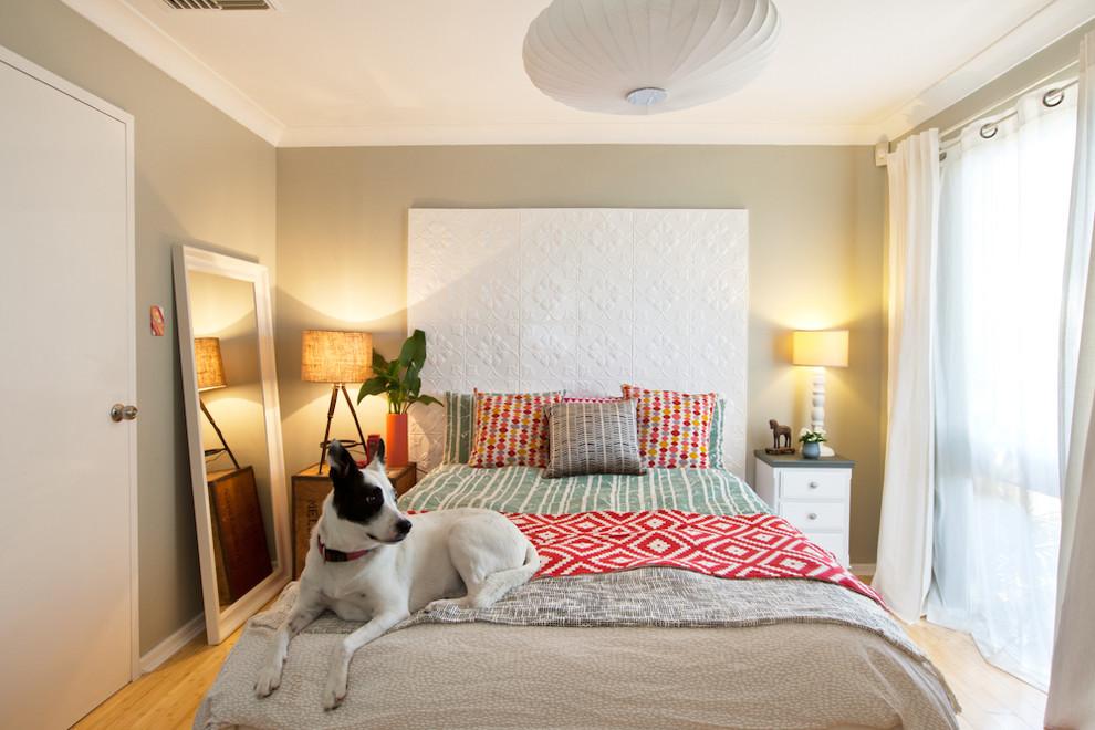 Спальня в  цветах:   Бежевый, Белый, Желтый, Светло-серый.  Спальня в  стиле:   Эклектика.