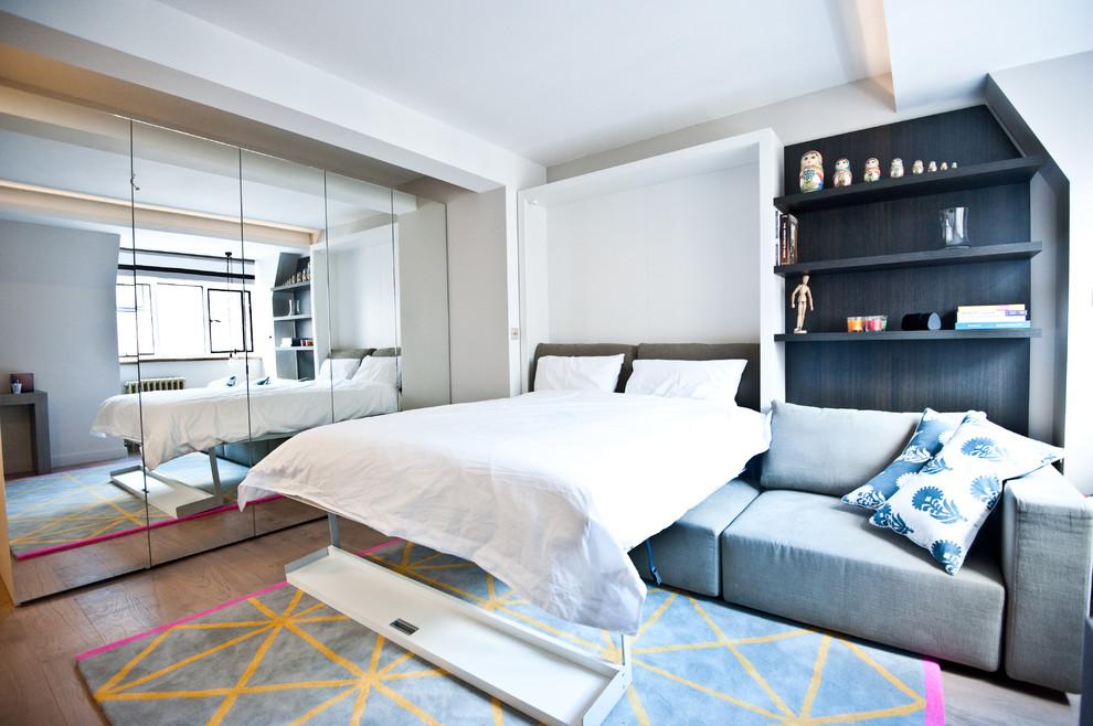 Спальня в  цветах:   Белый, Бирюзовый, Светло-серый, Синий.  Спальня в  стиле:   Минимализм.