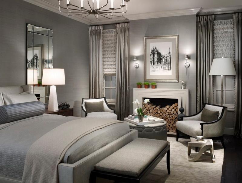 Спальня в цветах: Бежевый, Светло-серый, Серый, Черный. Спальня в стиле: Арт-деко.