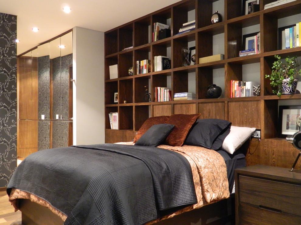 Спальня в  цветах:   Серый, Темно-зеленый, Темно-коричневый, Черный.  Спальня в  стиле:   Минимализм.