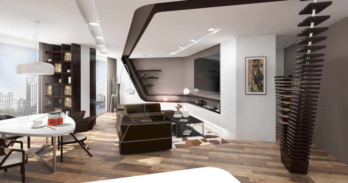 Как живут холостяки: квартира с панорамными окнами и необычным потолком
