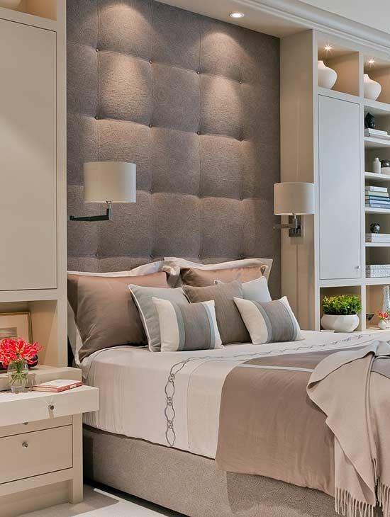 Спальня в  цветах:   Бежевый, Коричневый, Светло-серый, Серый.  Спальня в  стиле:   Минимализм.
