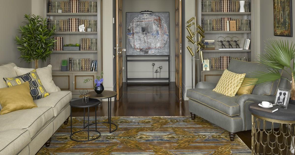 Ремонт в новостройке: трёхкомнатная квартира с библиотекой в английском стиле