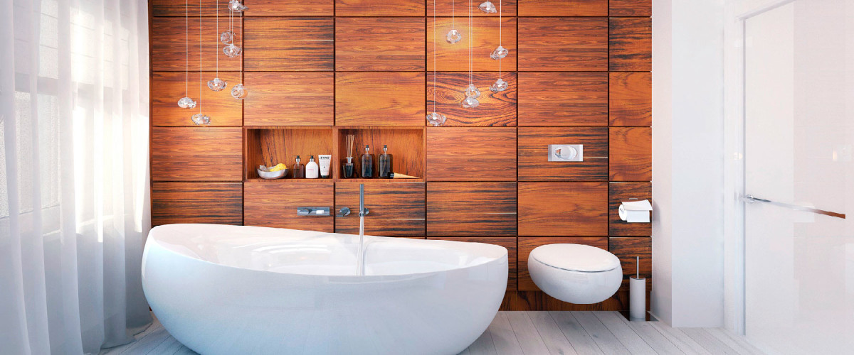 20 крутых идей отделки деревом ванной и туалета