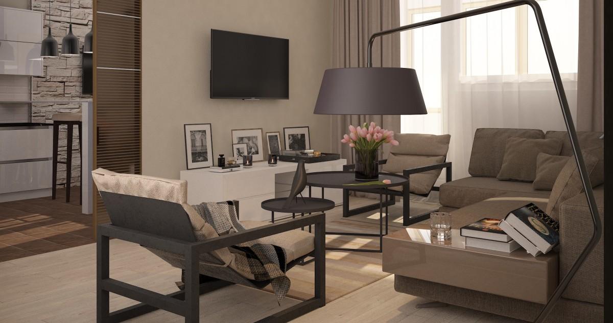 Квартира в стиле минимализм на Мичуринском проспекте: больше света, меньше цвета