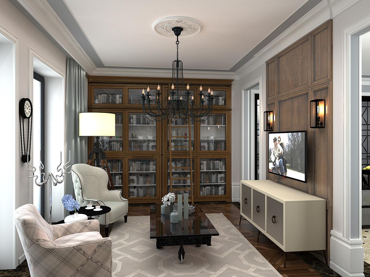 Кабинет в  цветах:   Бежевый, Светло-серый, Серый, Темно-коричневый, Черный.  Кабинет в  стиле:   Неоклассика.