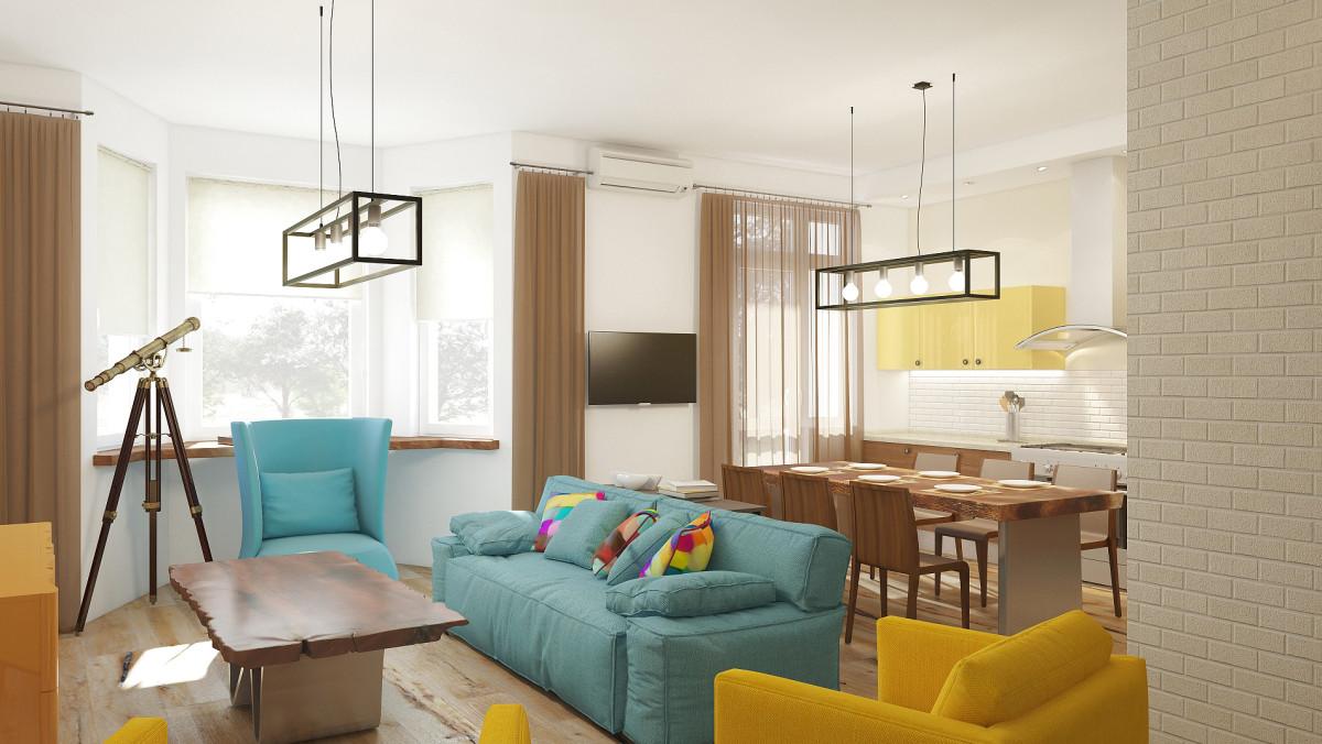 Гостиная в  цветах:   Бежевый, Белый, Коричневый, Светло-серый.  Гостиная в  стиле:   Лофт.