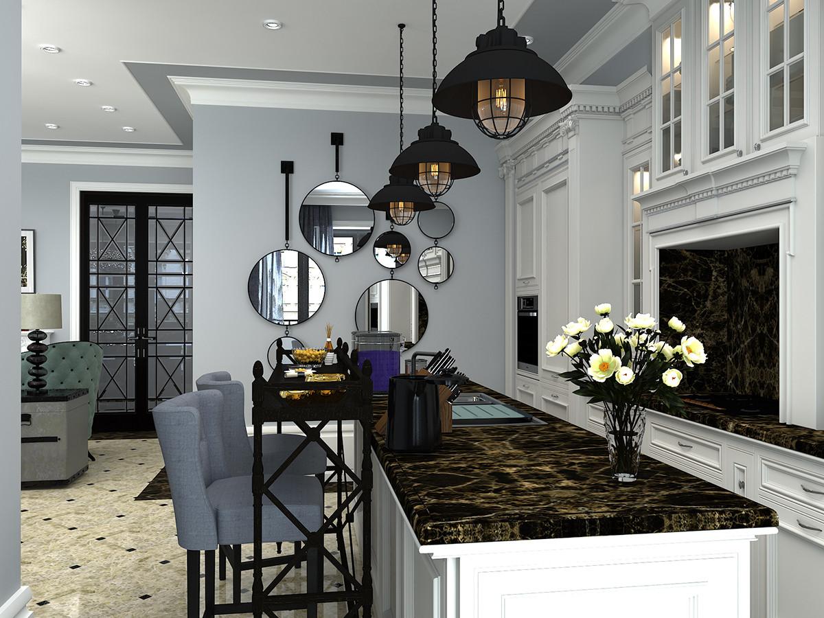 Кухня/столовая в  цветах:   Бежевый, Белый, Светло-серый, Серый, Черный.  Кухня/столовая в  стиле:   Неоклассика.