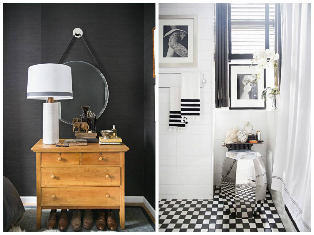 Туалет в цветах: черный, белый, бежевый. Туалет в стилях: неоклассика, эклектика.