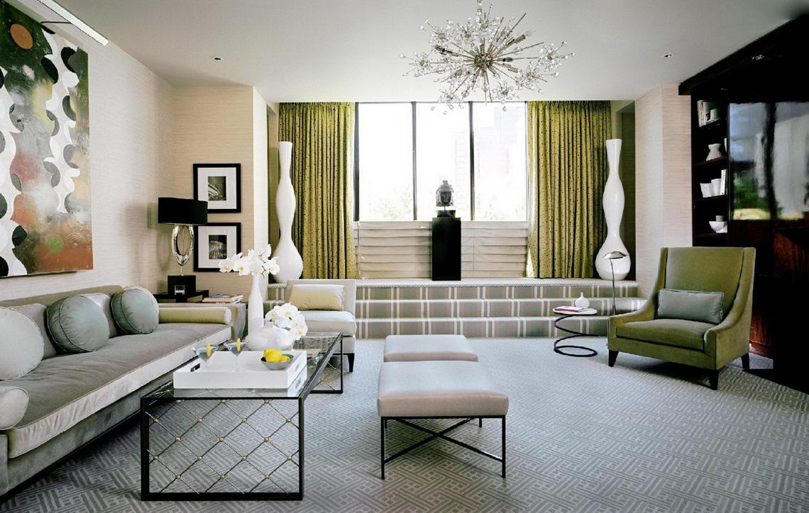 Гостиная, холл в цветах: зеленый, черный, серый, светло-серый, белый. Гостиная, холл в стиле арт-деко.