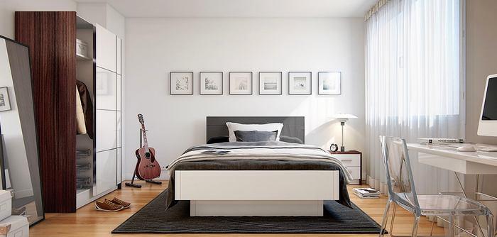 Спальня в цветах: серый, белый, темно-коричневый, бежевый. Спальня в стиле минимализм.