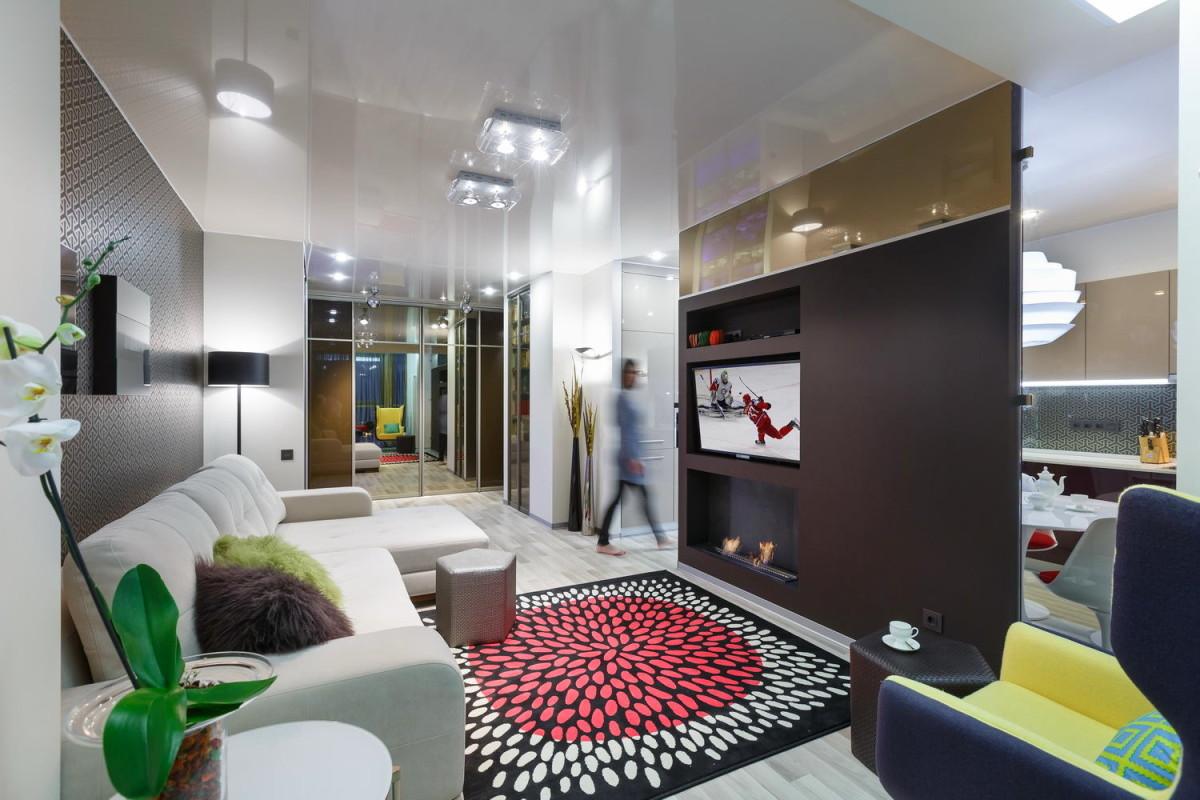 Гостиная, холл в цветах: серый, светло-серый, белый, лимонный, коричневый. Гостиная, холл в стилях: скандинавский стиль.