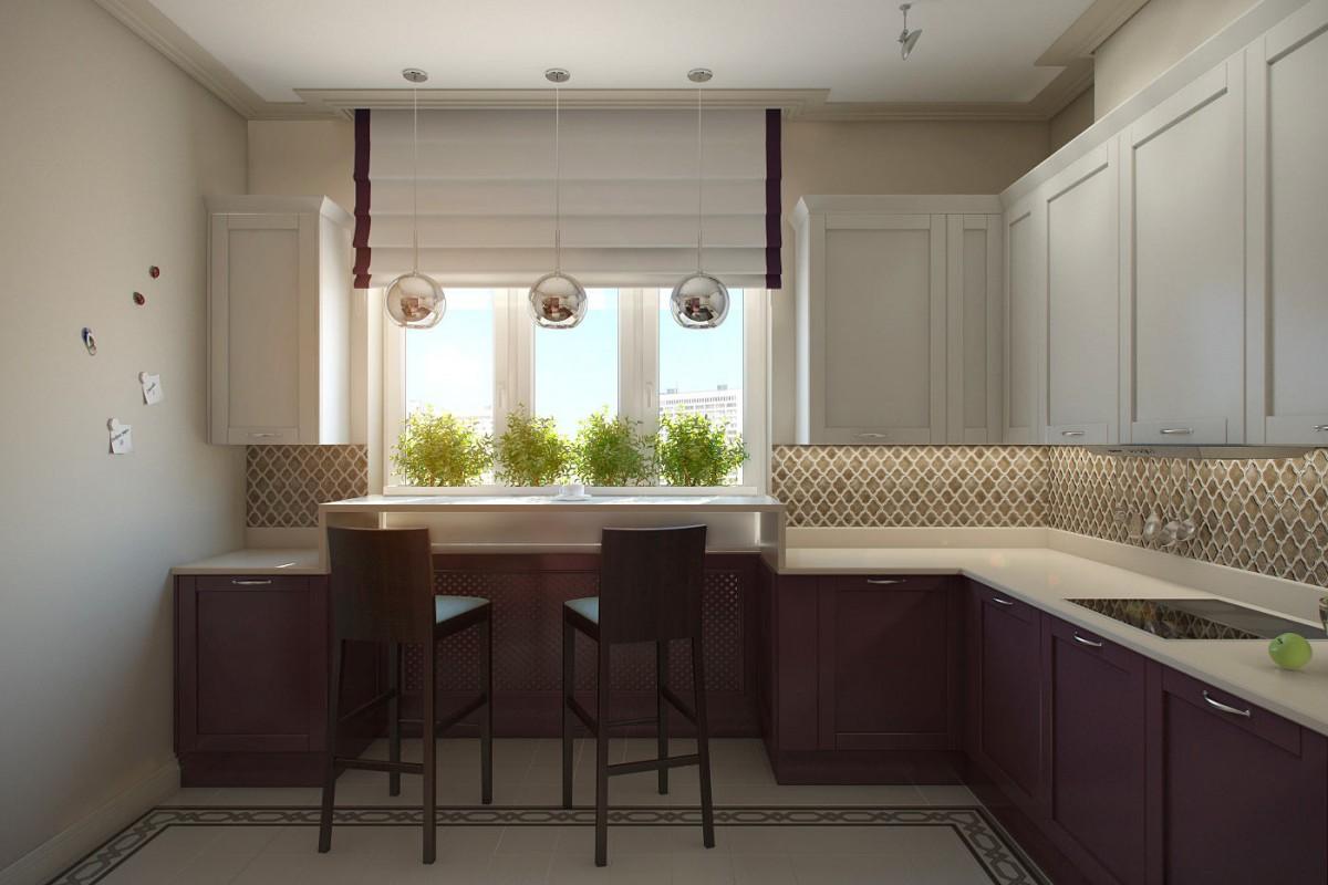 Кухня в цветах: светло-серый, белый, сиреневый, бежевый. Кухня в стиле арт-деко.