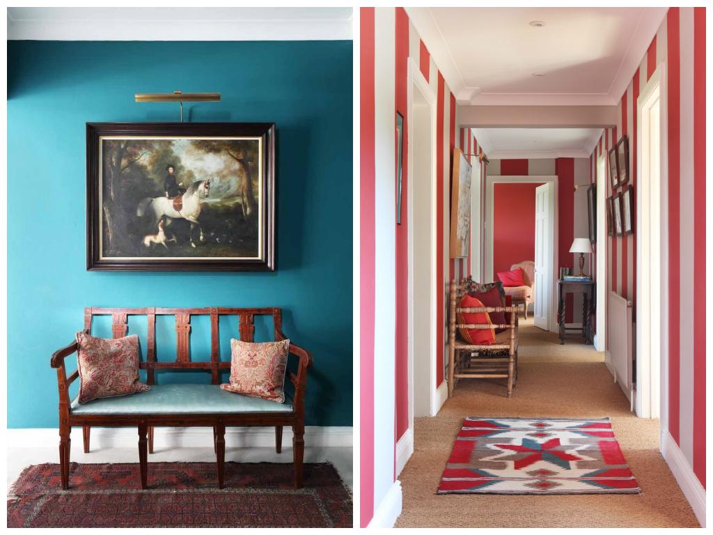 Гостиная, холл в цветах: красный, бирюзовый, белый, бежевый. Гостиная, холл в стиле эклектика.