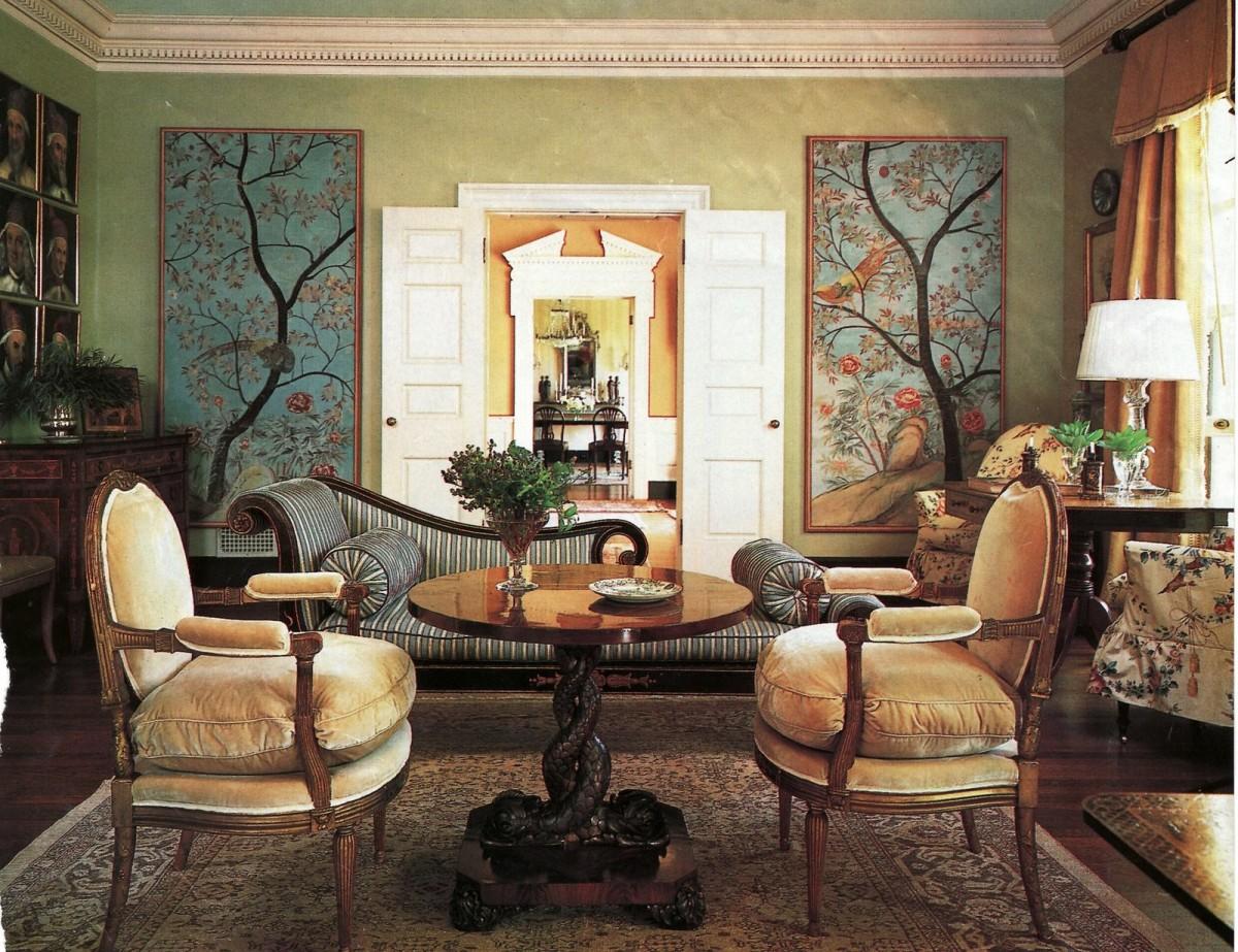 Гостиная, холл в цветах: зеленый, белый, темно-коричневый, коричневый, бежевый. Гостиная, холл в стиле классика.