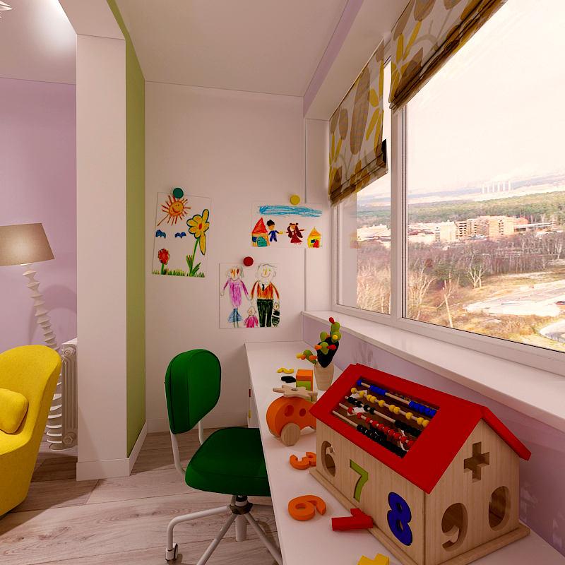 Детская в цветах: желтый, белый, темно-зеленый, бежевый. Детская в стиле минимализм.