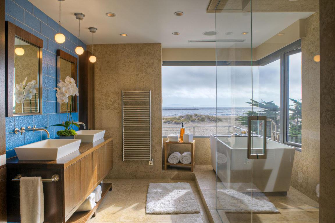 Туалет в цветах: бирюзовый, коричневый, бежевый. Туалет в стилях: средиземноморский стиль.