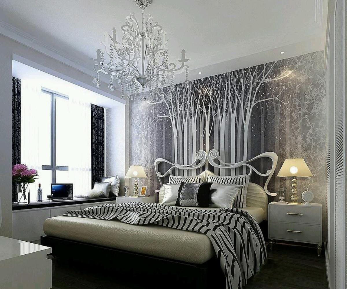 Спальня в цветах: черный, серый, светло-серый, белый. Спальня в стиле хай-тек.