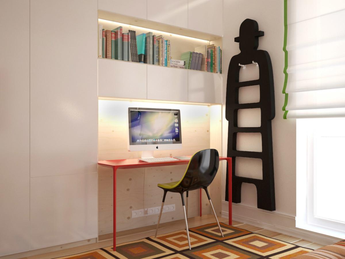 Офис в цветах: белый, коричневый, бежевый. Офис в стиле минимализм.