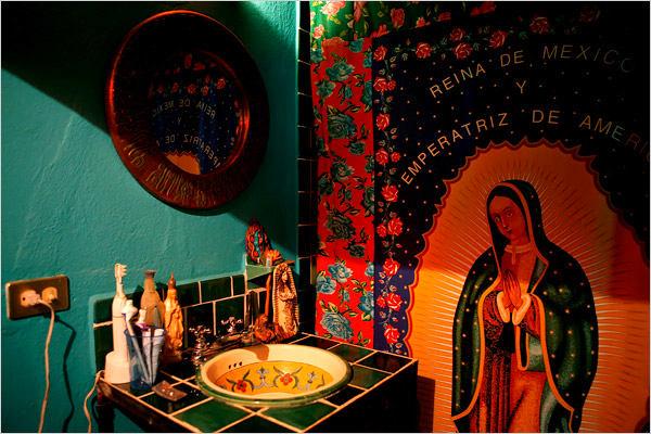 Туалет в цветах: голубой, черный, бордовый, темно-коричневый, бежевый. Туалет в стилях: этника, эклектика.