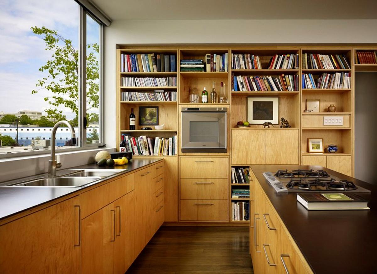 Кухня в цветах: белый, темно-коричневый, коричневый, бежевый. Кухня в стиле минимализм.