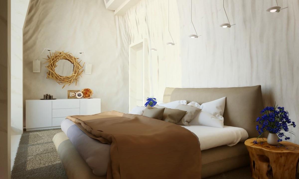 Спальня в цветах: серый, светло-серый, белый, темно-коричневый, коричневый. Спальня в стилях: минимализм, экологический стиль.