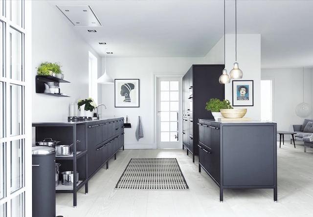 Кухня в цветах: фиолетовый, черный, серый, светло-серый, бежевый. Кухня в стилях: минимализм, скандинавский стиль.