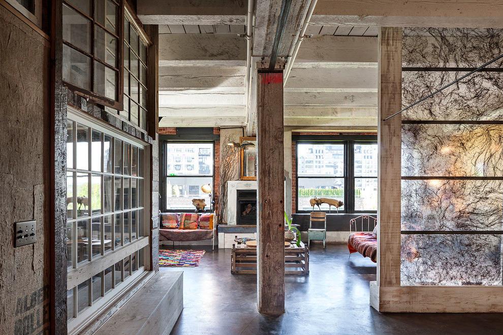 Гостиная, холл в цветах: серый, светло-серый, белый, коричневый, бежевый. Гостиная, холл в стиле лофт.