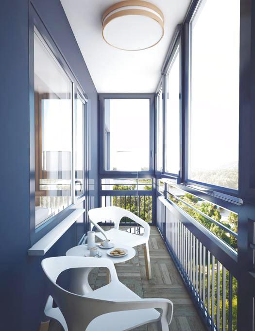 Балкон, веранда, патио в цветах: фиолетовый, серый, светло-серый, белый, бежевый. Балкон, веранда, патио в стиле минимализм.