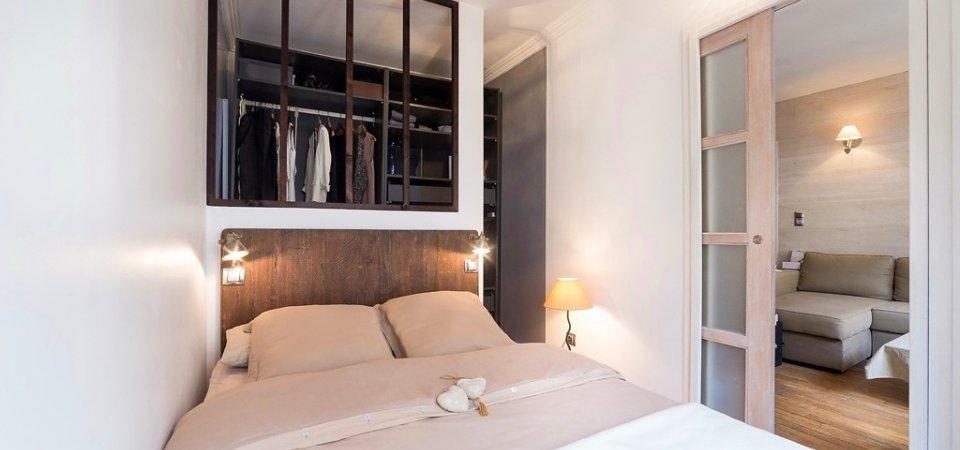 25-метровая квартира в Париже — уютная спальня, карамельная палитра и гардеробная