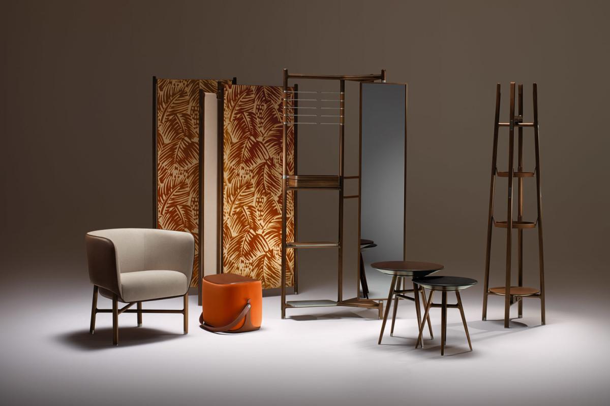 Мебель и предметы интерьера в цветах: оранжевый, черный, светло-серый, темно-коричневый. Мебель и предметы интерьера в стиле минимализм.