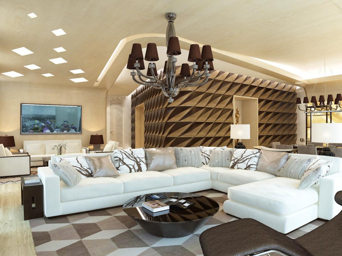 Гостиная, холл в цветах: белый, темно-коричневый, коричневый, бежевый. Гостиная, холл в стиле арт-деко.