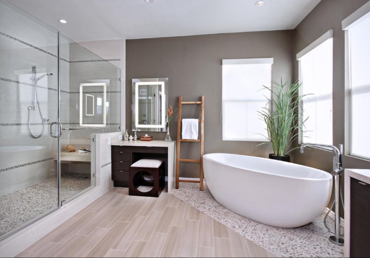 Туалет в цветах: светло-серый, белый, бежевый. Туалет в стиле средиземноморский стиль.