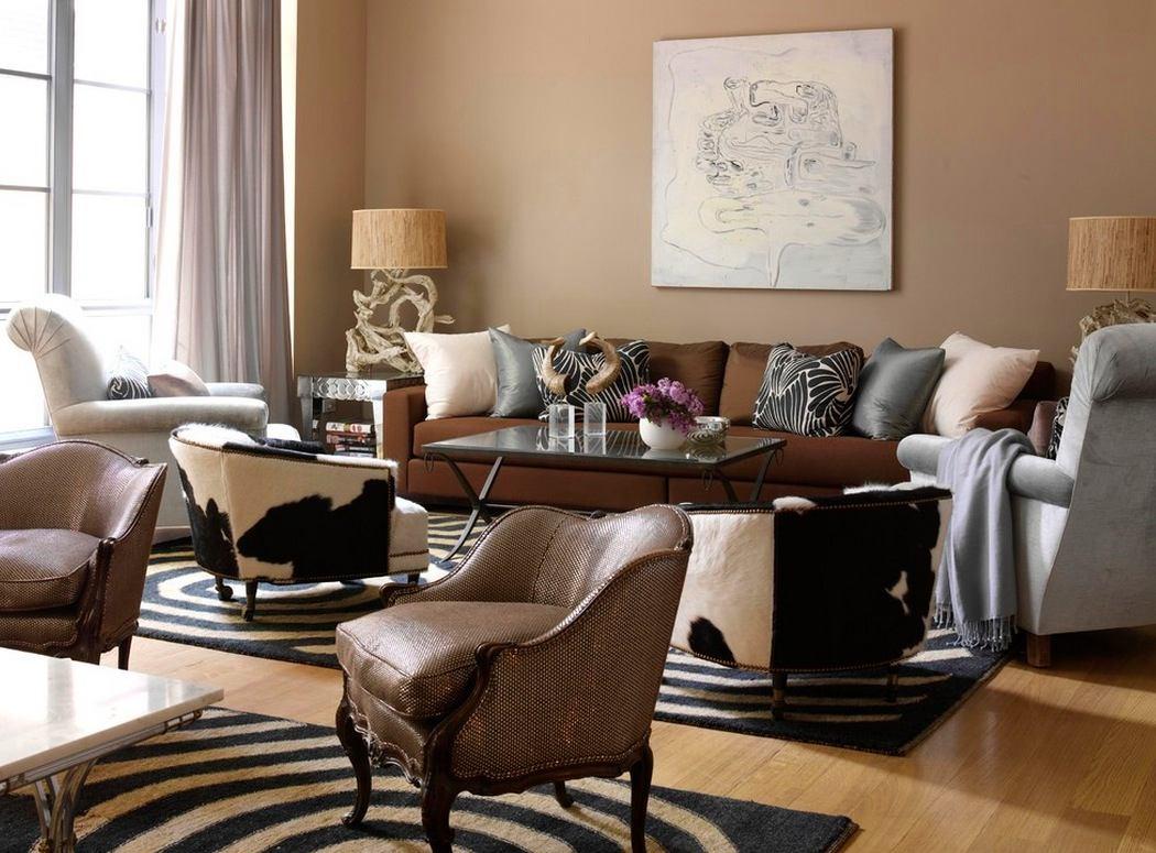 Гостиная, холл в цветах: черный, серый, светло-серый, коричневый, бежевый. Гостиная, холл в стиле эклектика.