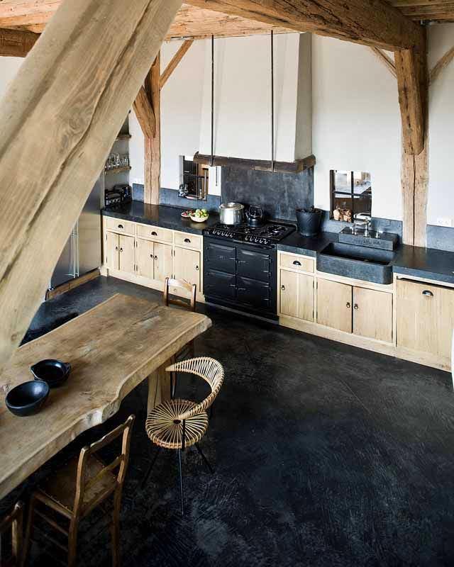 Кухня в цветах: черный, серый, светло-серый. Кухня в стилях: экологический стиль.