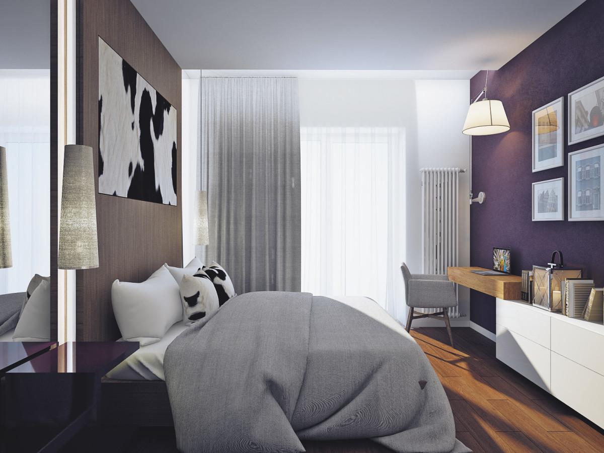Спальня в цветах: фиолетовый, серый, белый, коричневый. Спальня в стиле минимализм.