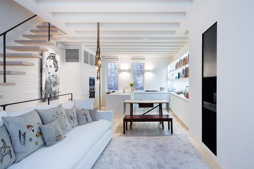 Гостиная, холл в цветах: светло-серый, белый. Гостиная, холл в стиле скандинавский стиль.