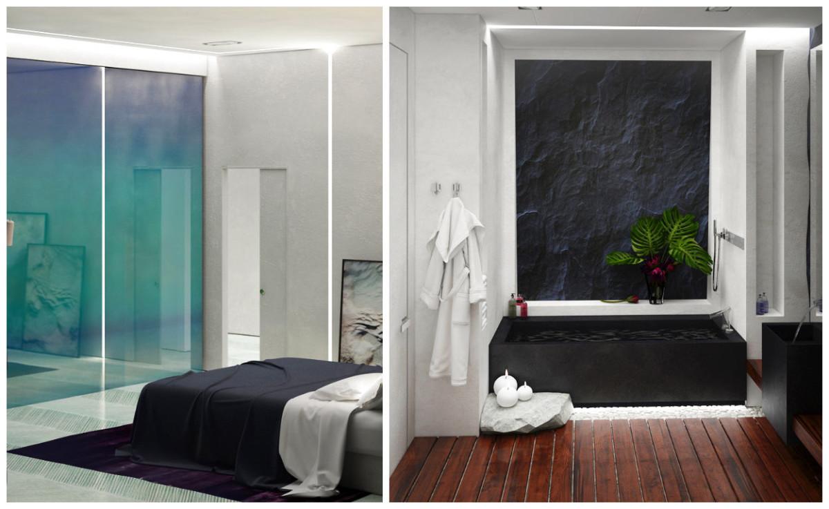 Мебель и предметы интерьера в цветах: бирюзовый, черный, светло-серый, белый, коричневый. Мебель и предметы интерьера в стилях: минимализм, экологический стиль.